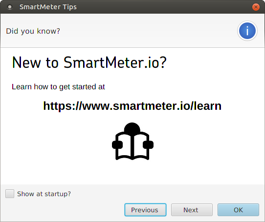 SmartMeter.io welcome screen tips